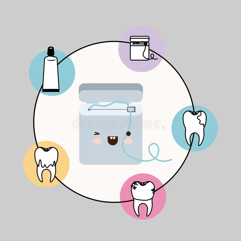 Dental floss box kawaii with happiness expression with circular frame icons dental care on gray background. Vector illustration vector illustration