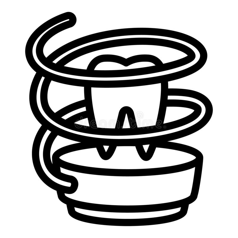 Dental floss icon, outline style royalty free illustration