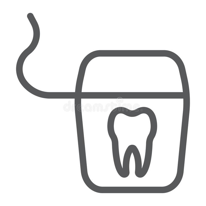 Dental floss line icon, stomatology and dental. Clean sign vector graphics, a linear pattern on a white background, eps 10 royalty free illustration