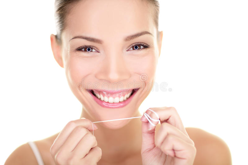 Download Dental Floss - Woman Flossing Teeth Smiling Stock Image - Image: 32851399