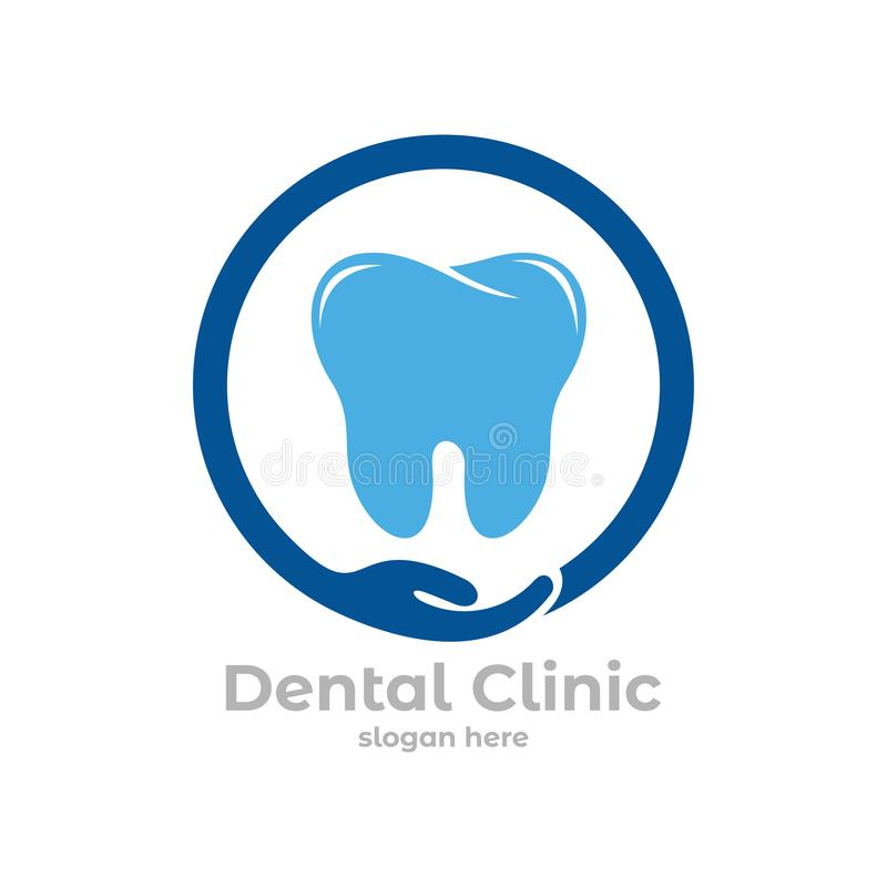 dental health clinic service vector logo design inside circle with open hand vector illustration