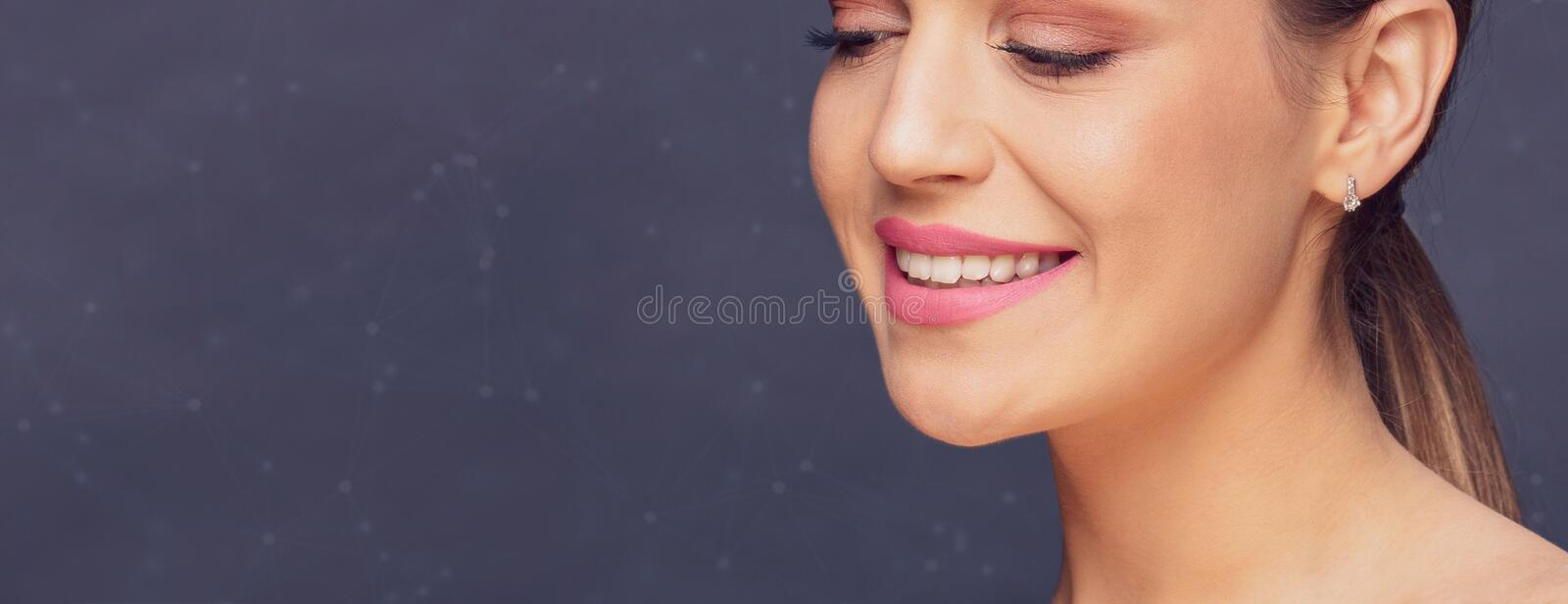 Dental health concept -Healthy beautiful woman teeth and smile. royalty free stock photography