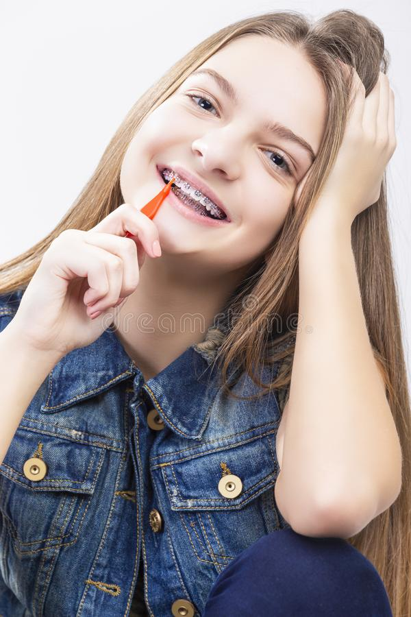 Dental Health Concepts.Portrait of Blond Caucasian Teenage Girl stock photos