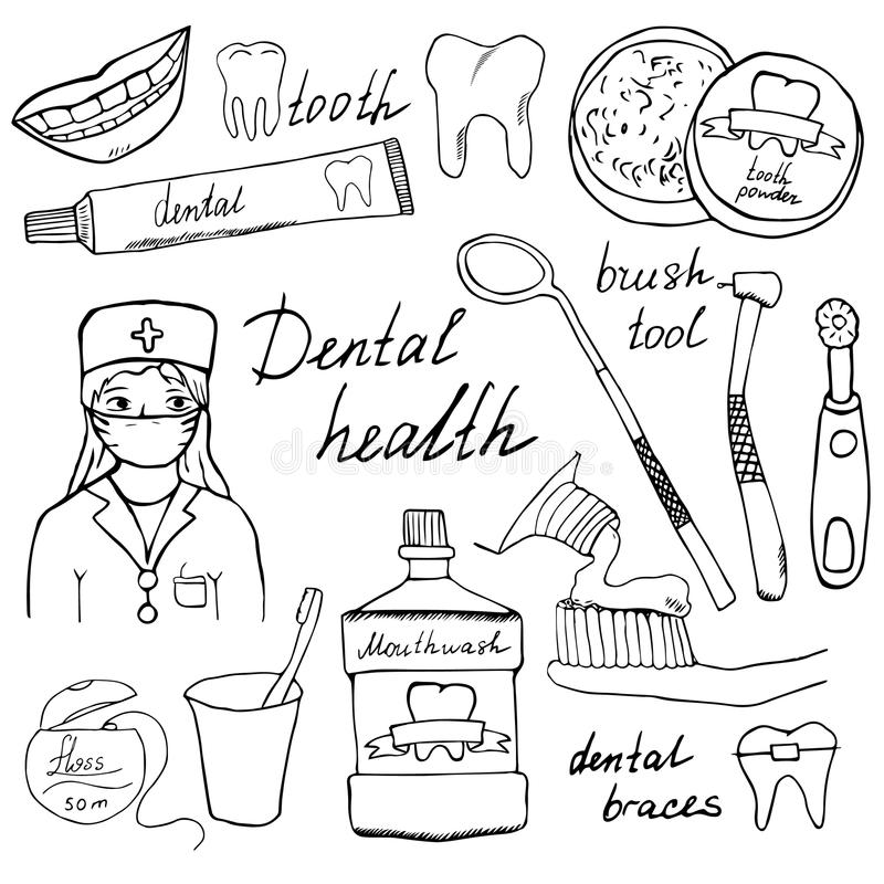 Dental health doodles icons set. Hand drawn sketch with teeth, toothpaste toothbrush dentist mouth wash and floss. vector. Illustration isolated royalty free illustration