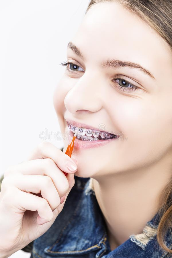 Dental Health Ideas and Concepts.Smiling Caucasian Female Teenager royalty free stock photography