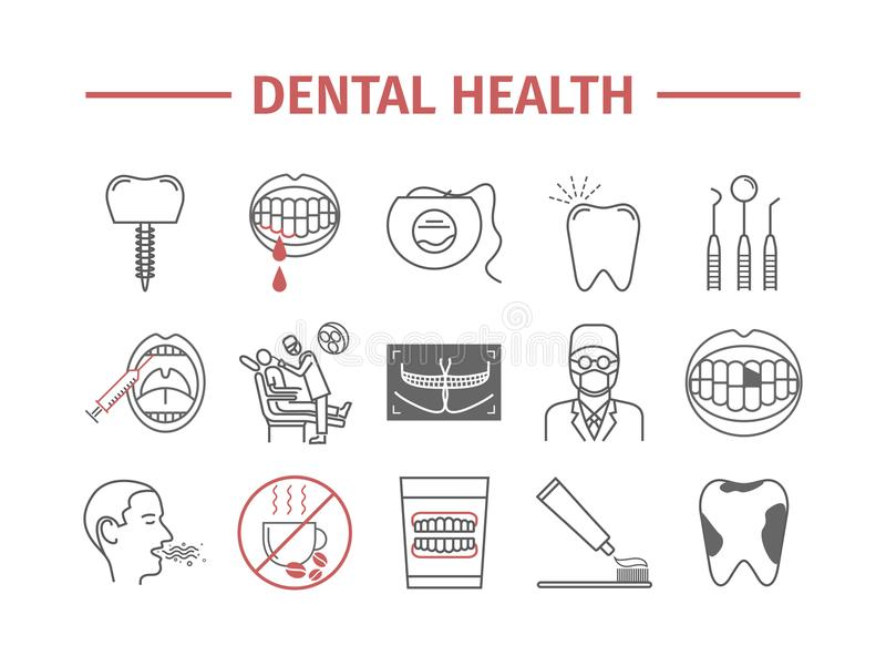 Dental Health line icons set. Reception at the dentist. Treatment. Vector signs. Dental Health line icons set. Reception at the dentist. Vector signs for web royalty free illustration