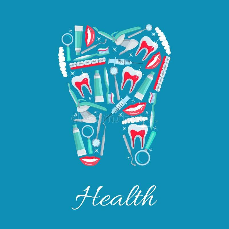 Dental health vector poster of dentistry items stock illustration