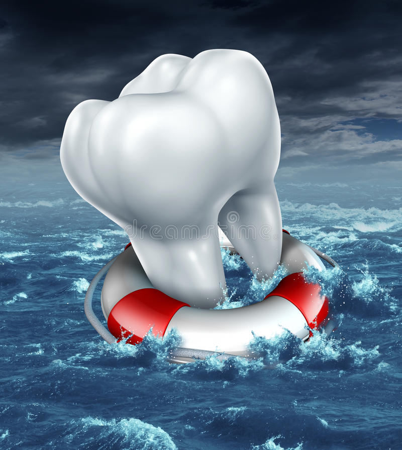 Dental Help. Protection as a medical dentistry concept with a white molar tooth being saved by a lifesaver or lifebelt as a metaphor for fighting against tooth vector illustration