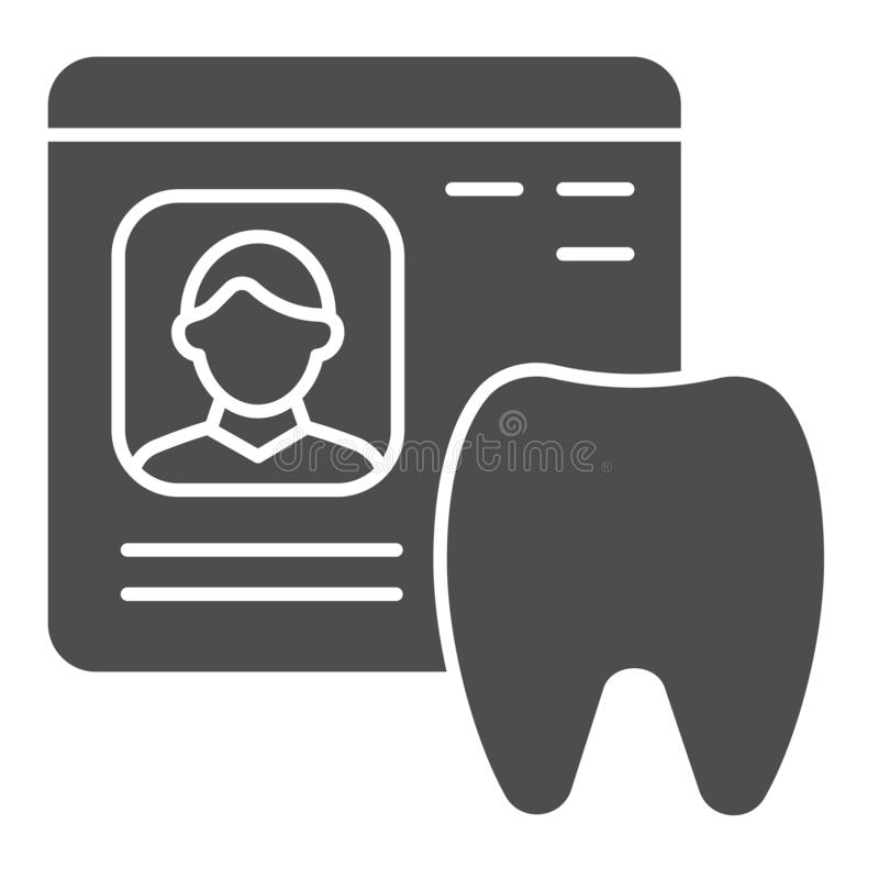 Dental history solid icon. Medical paper vector illustration isolated on white. Stomatology document glyph style design. Designed for web and app. Eps 10 vector illustration