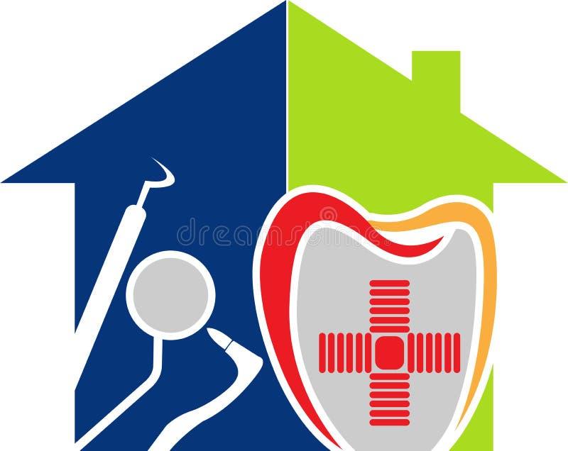 Dental home logo. Illustration art of a dental home logo with isolated background stock illustration