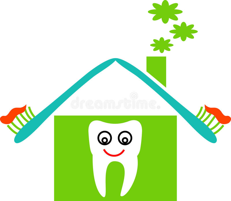 Dental house. Line art funny cartoon image vector illustration