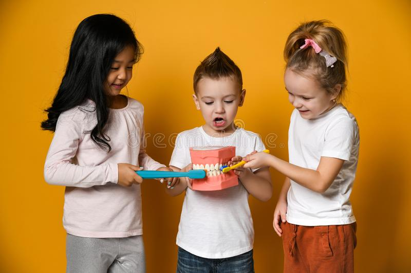 Dental hygiene. happy little cute children with toothbrushes. royalty free stock photography