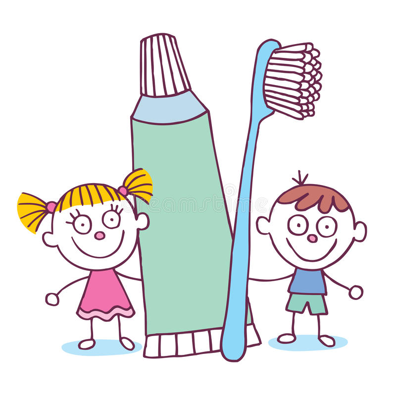 Dental Hygiene Kids With Toothbrush And Toothpaste Stock ...