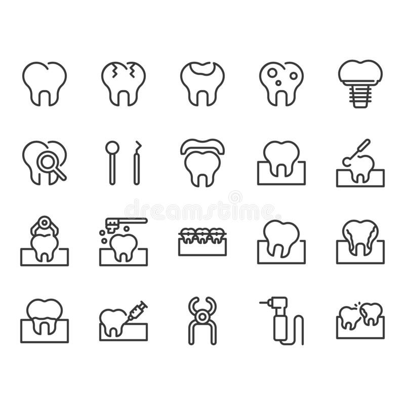 Dental icon set.Vector illustration stock illustration