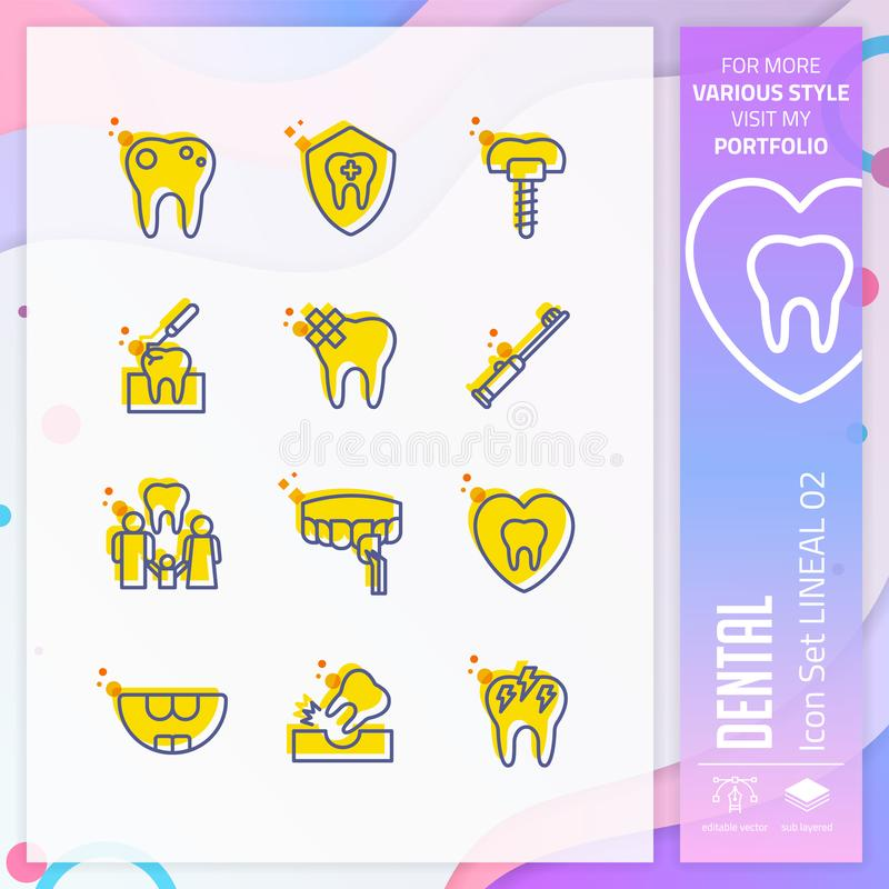 Dental icon set vector with line on simple concept. Dental clinic icon for website element, app, UI, infographic, print template stock illustration