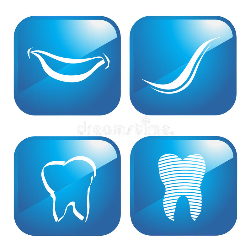 Dental icons logo. Dental icons in 4 different graphics vector illustration