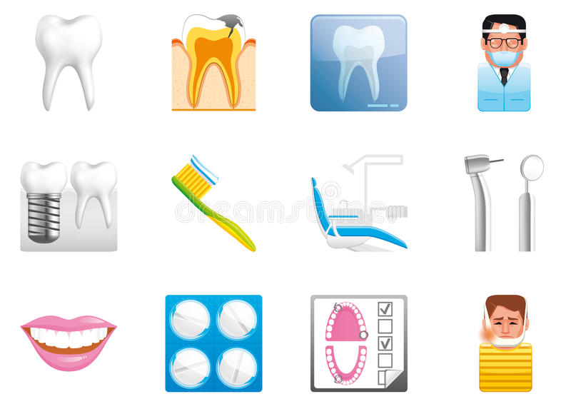 Download Dental  icons stock illustration. Image of chair, brush - 24408884