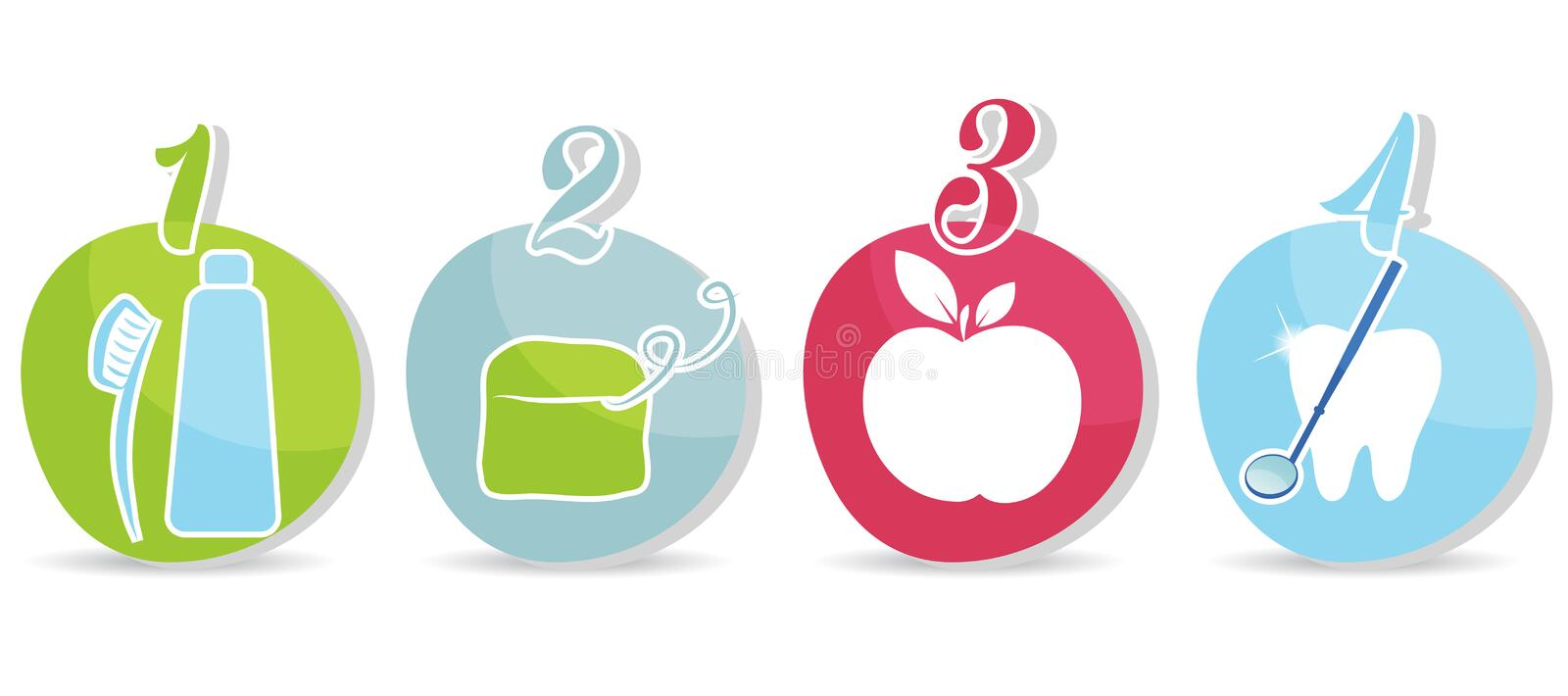 Dental icons. Healthy teeth recommendations. Brush daily, floss daily, eat healthy food, regular dental visits stock illustration