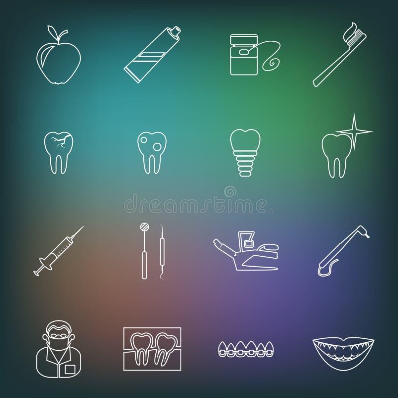 Dental icons outline royalty free illustration