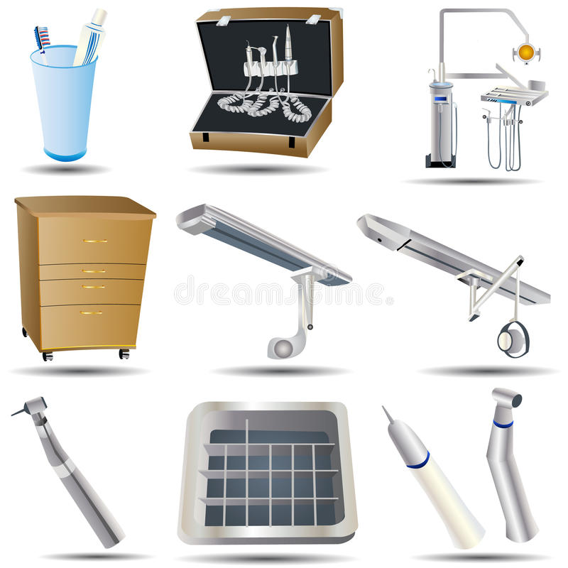 Dental icons set 3. Collection of ten dental icons, vector illustration vector illustration