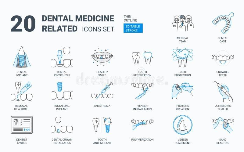 Dental icons set. royalty free illustration