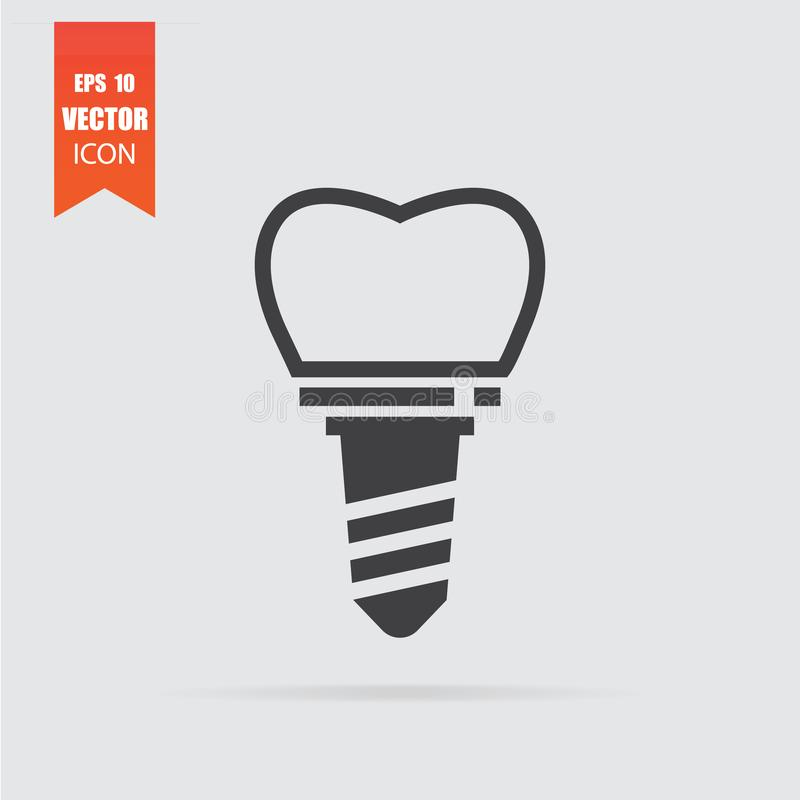 Dental implant icon in flat style isolated on grey background stock illustration