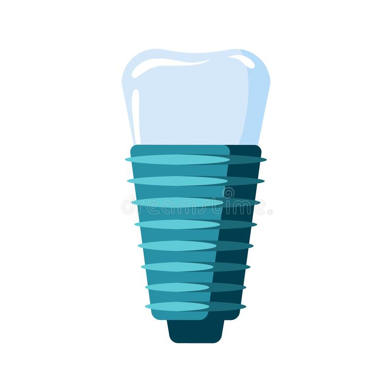 Dental implant icon. Dental tooth implant symbol in flat style stock illustration