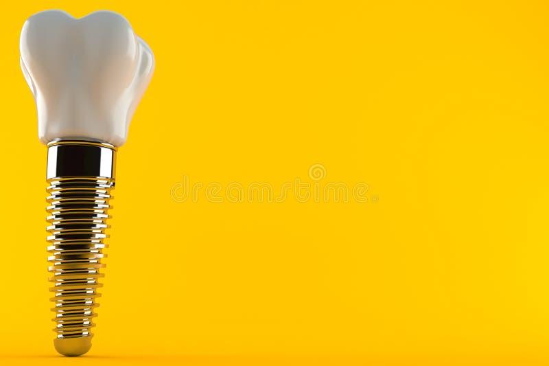 Dental implant. Isolated on orange background. 3d illustration royalty free illustration