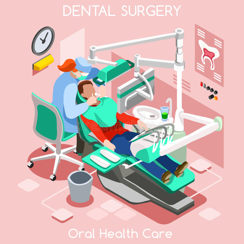 Dental implant teeth hygiene and whitening oral surgery center dentist and patient. Flat 3D isometric people dentistry clinic room dental cosmetic implant stock illustration