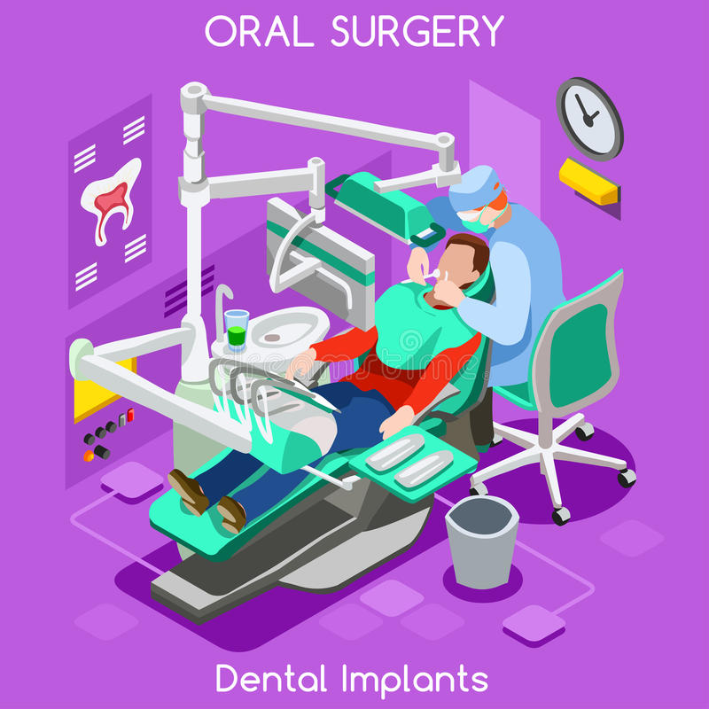 Dental implant teeth hygiene and whitening oral surgery center dentist and patient. Flat 3D isometric people dentistry clinic room royalty free illustration