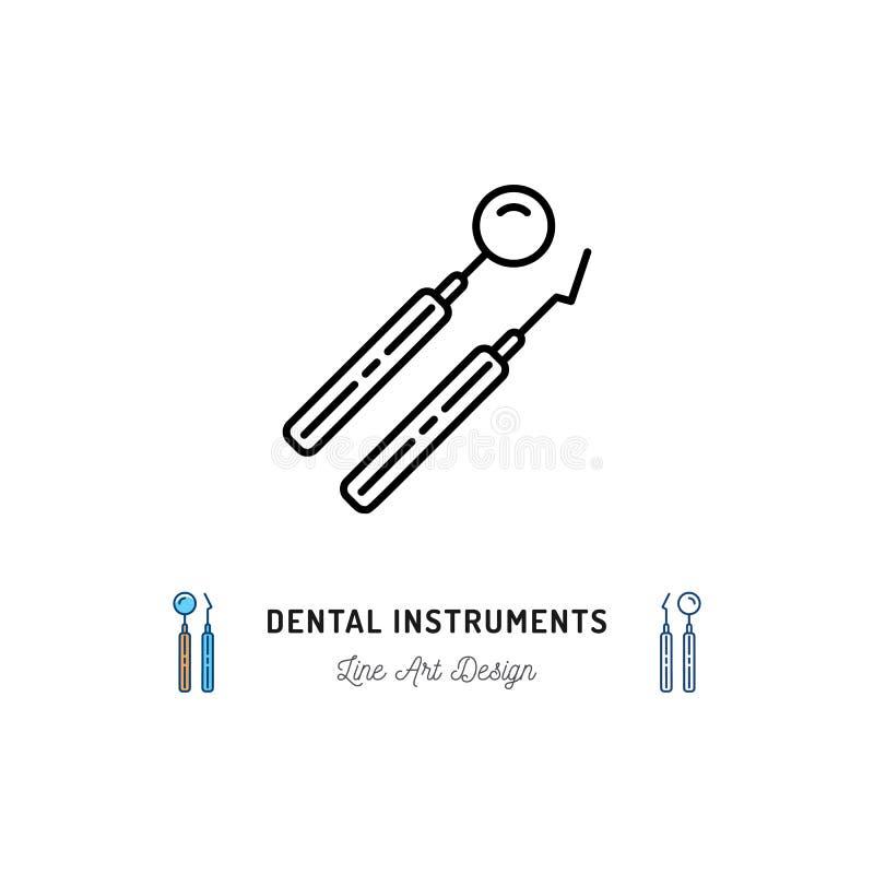 Dental instrument logo. Dental mirror and dental pick line icons. Vector illustration stock illustration