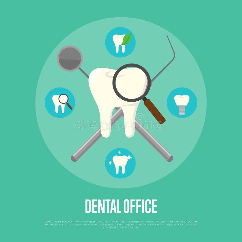 Dental instruments crosswise on green background vector illustration