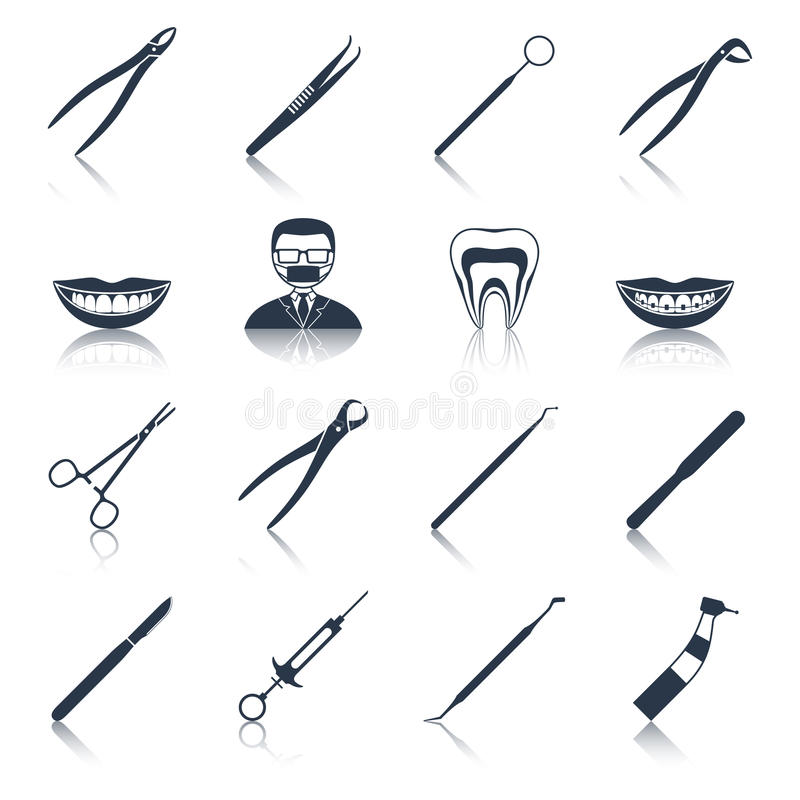 Dental instruments icons set black vector illustration