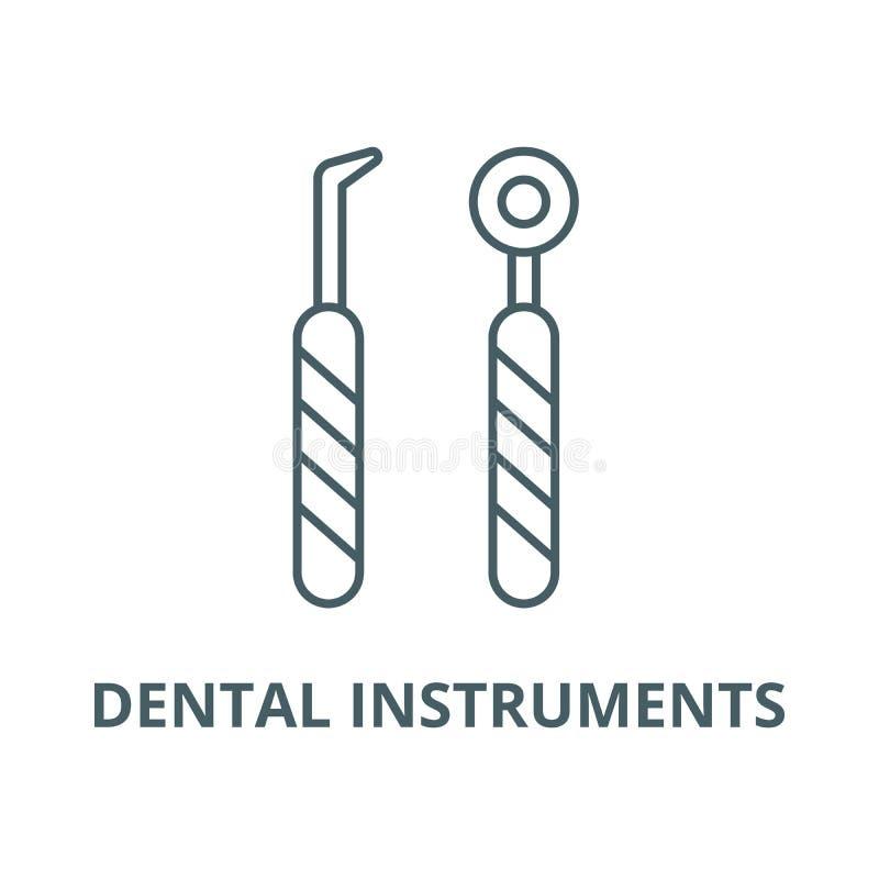 Dental instruments line icon, vector. Dental instruments outline sign, concept symbol, flat illustration vector illustration