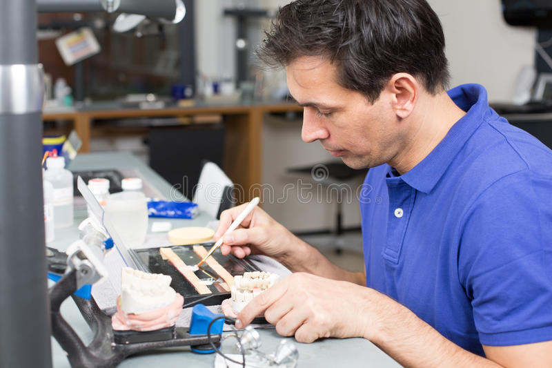 Download Dental Lab Technician Appying Porcelain To Mold Stock Image - Image: 28621199