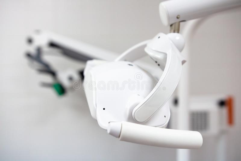 Dental lamp in office at dentist. Dental equipment stock photos