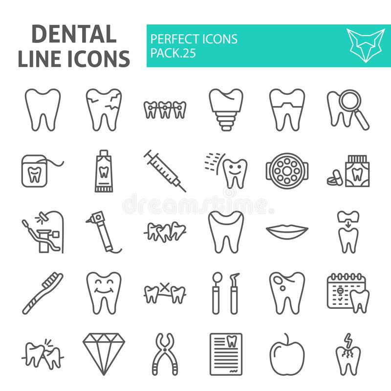 Dental line icon set, dentistry symbols collection, vector sketches, logo illustrations, tooth signs linear pictograms royalty free illustration