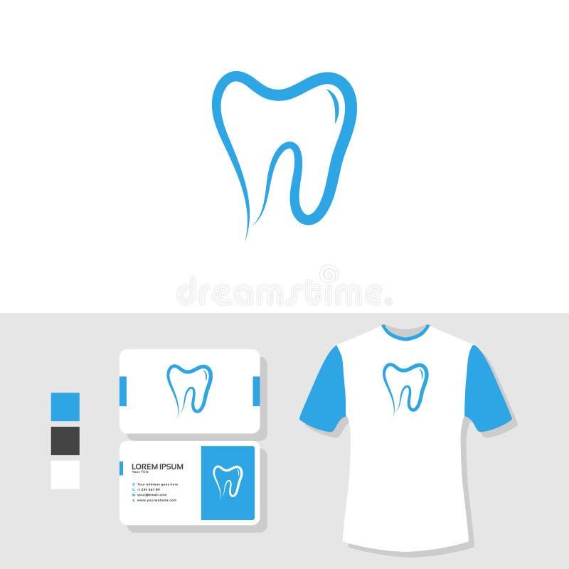 Dental logo design with business card and t shirt mockup royalty free illustration