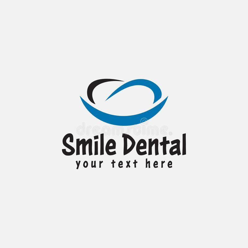 Dental logo design template vector isolated illustration. Swoosh, style, mouth, logotype, silhouette, hygiene, oral, creative, stomatology, business, whitening royalty free illustration