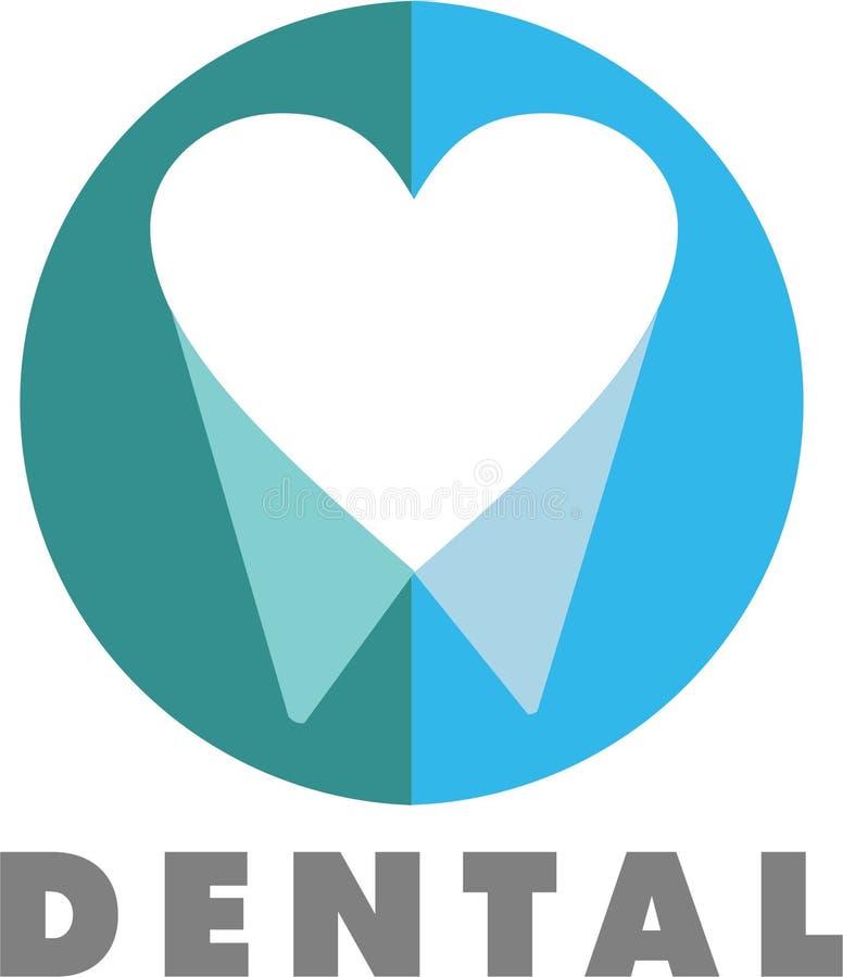 Dental Logo. Thoth in the shape of heart destal royalty free illustration