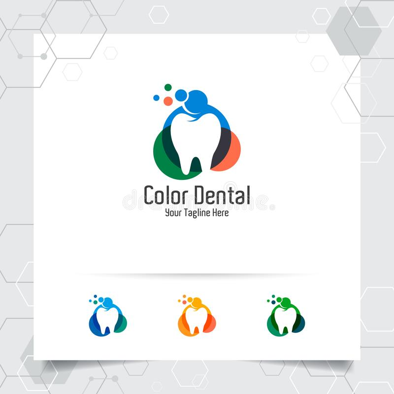 Dental logo vector design with concept of colorful style. Dental care and dentist icon for hospital, doctor and dental clinic royalty free illustration