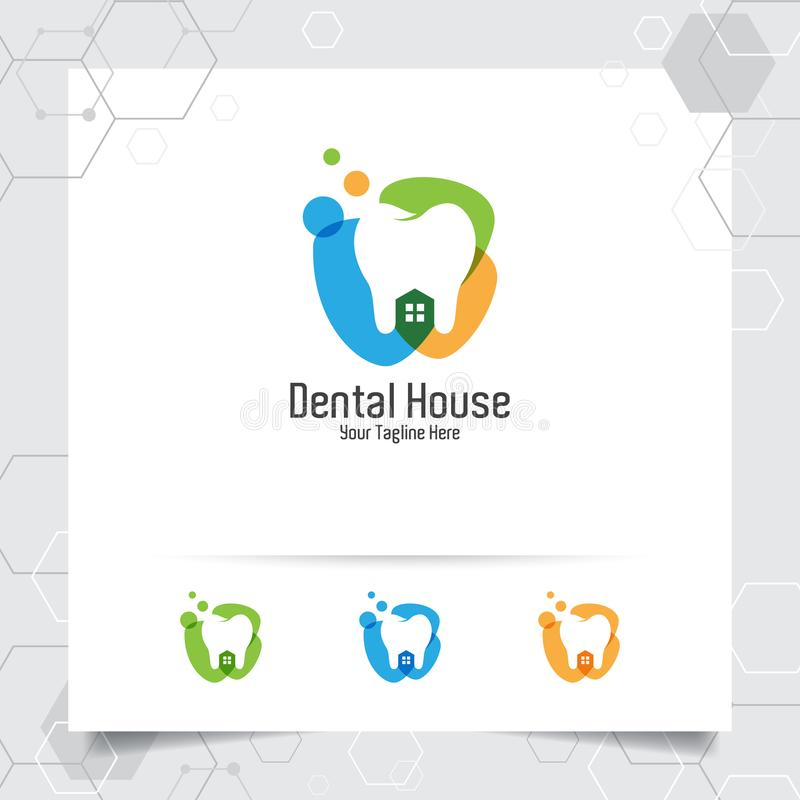Dental logo vector design with concept of home and clinic. Dental care and dentist icon for hospital, doctor and dental clinic stock illustration