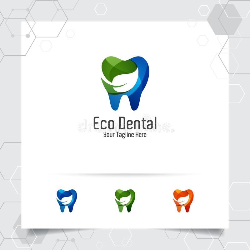 Dental logo vector design with concept of natural green. Dental care and dentist icon for hospital, doctor and dental clinic royalty free illustration