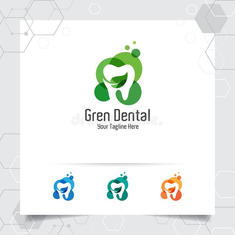 Dental logo vector design with concept of natural green. Dental care and dentist icon for hospital, doctor and dental clinic vector illustration