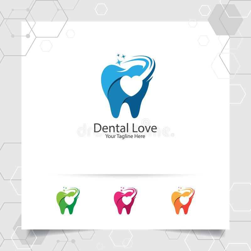 Dental logo vector design with concept of negative space love. Dental care and dentist icon for hospital, doctor and dental clinic royalty free illustration