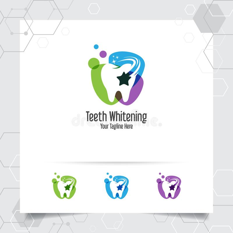 Dental logo vector design with concept of negative space star. Dental care and dentist icon for hospital, doctor and dental clinic royalty free illustration