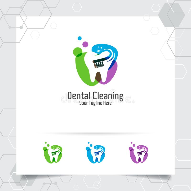 Dental logo vector design with concept of toothbrush and colorful style. Dental care and dentist icon for hospital, doctor and royalty free illustration