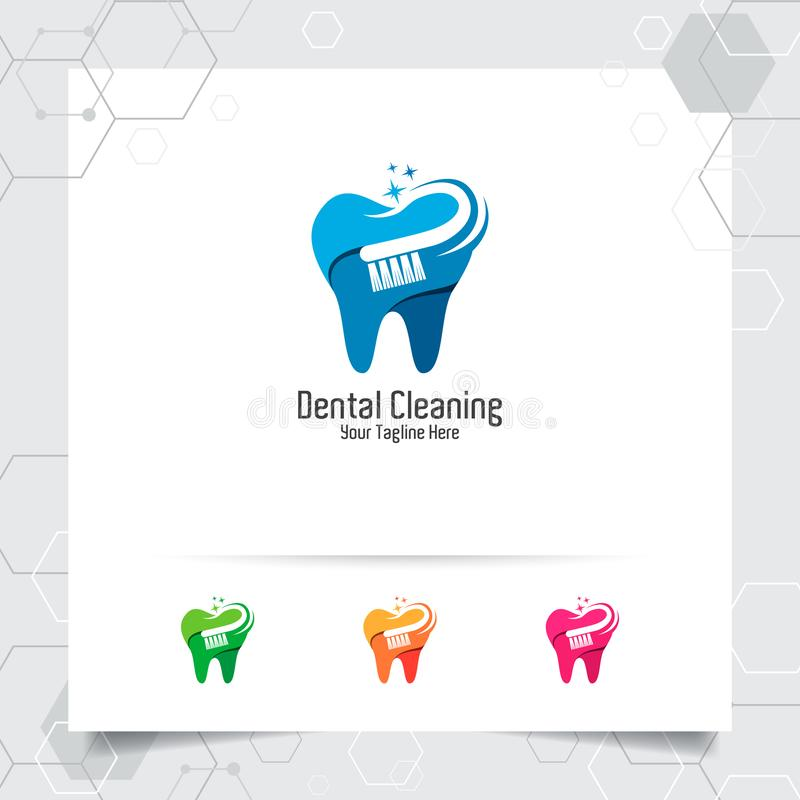 Dental logo vector design with concept of toothbrush and colorful style. Dental care and dentist icon for hospital, doctor and stock illustration