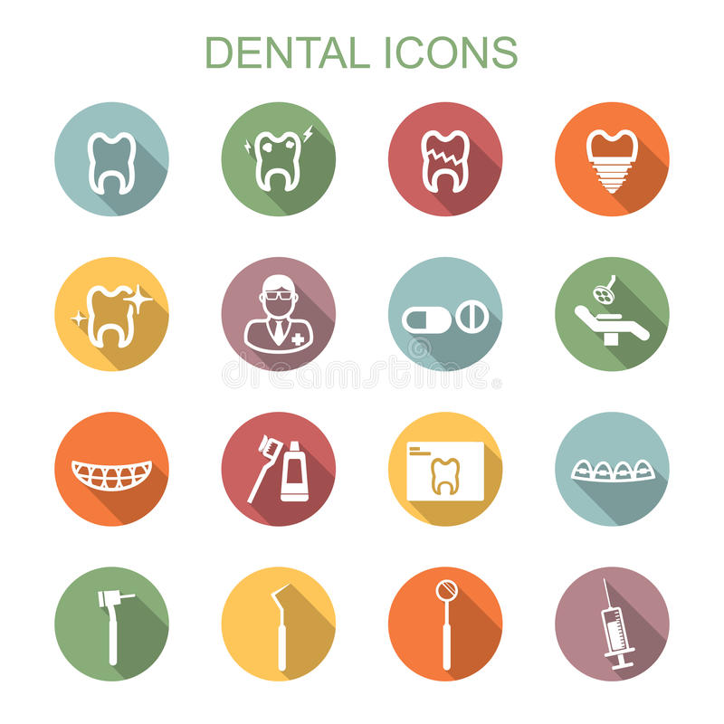 Dental long shadow icons stock illustration