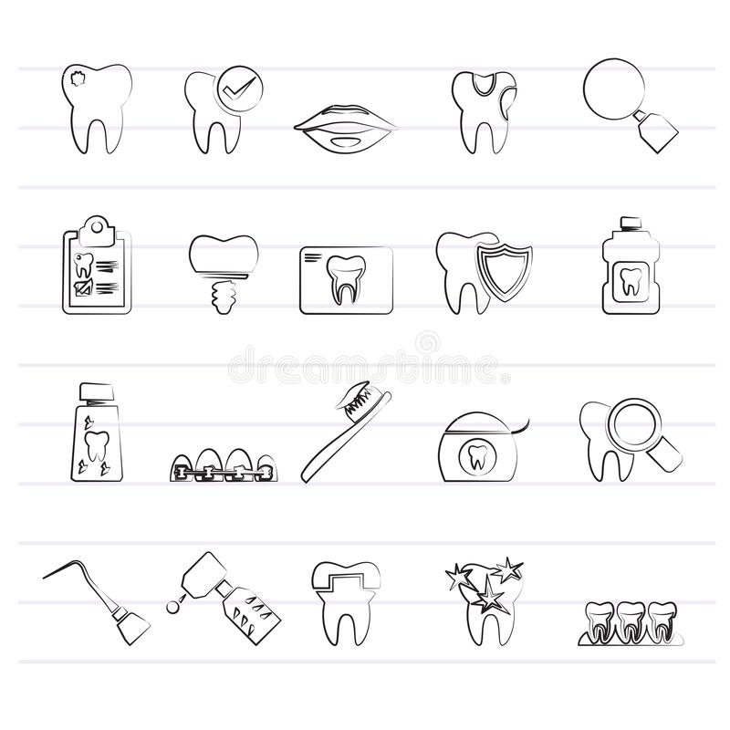 Dental Medicine And Dentistry Tools Icons Stock Vector